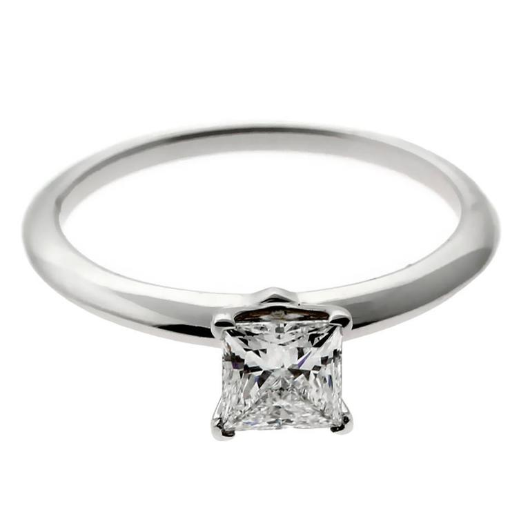 a36b84e88b5f Tiffany and Co. Princess Cut Diamond Platinum Engagement Ring For ...