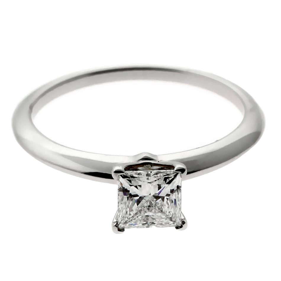 Princess Cut Diamond Platinum Engagement Ring For Sale At 1stdibs