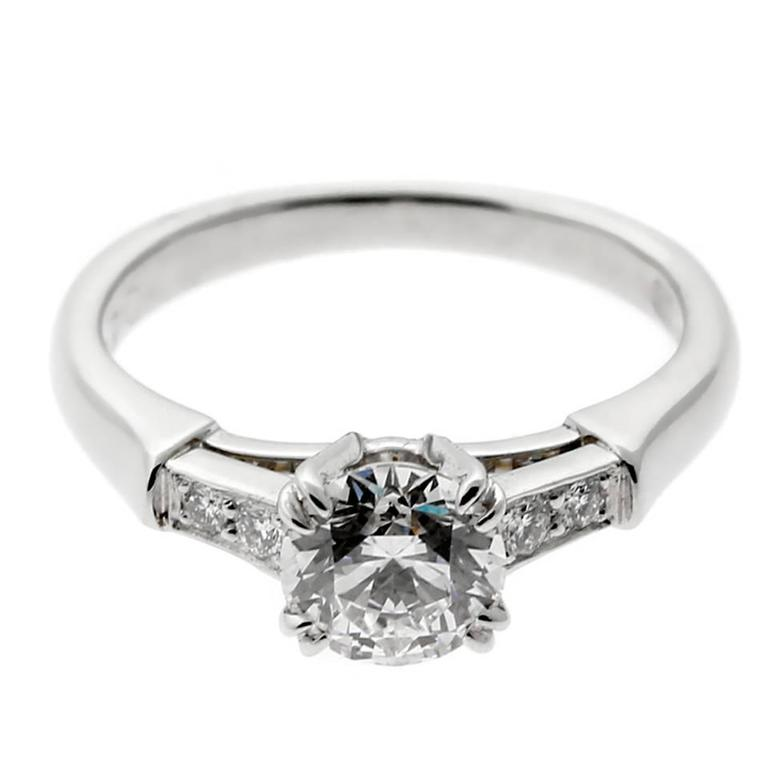 Harry Winston Diamond Platinum Engagement Ring For Sale