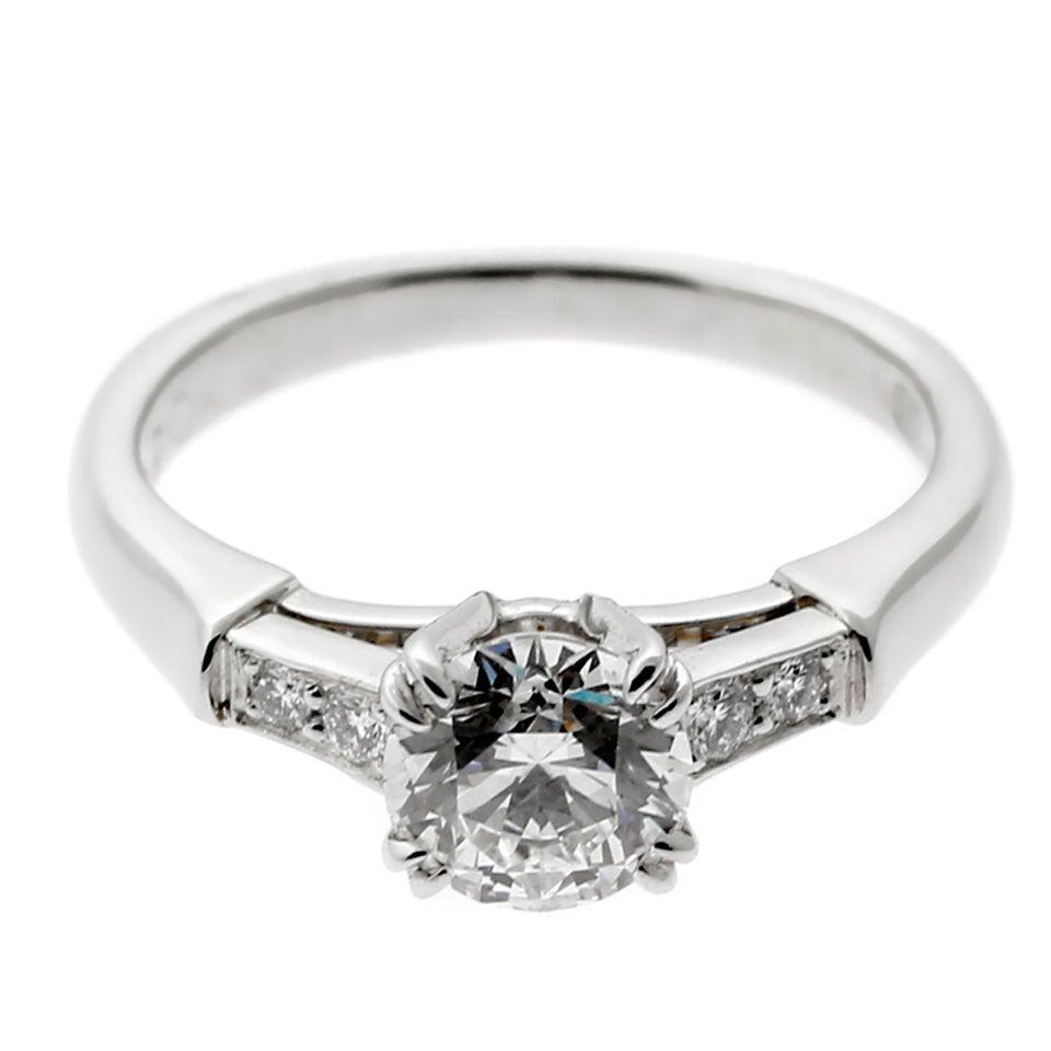 Harry Winston Diamond Platinum Engagement Ring For Sale At 1stdibs