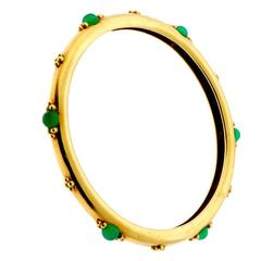 Boucheron Paris Emerald Gold Slip On Bangle Bracelet