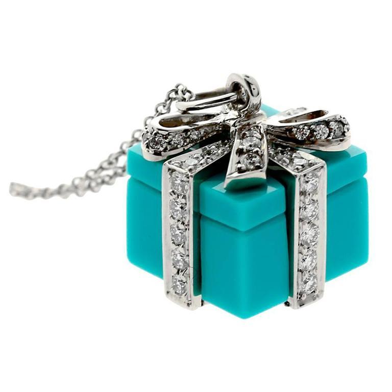 Tiffany and Co Diamond Platinum Tiffany Blue Box Necklace at 1stdibs