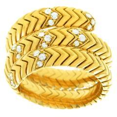 Bulgari Spiga Diamond Gold Snake Ring