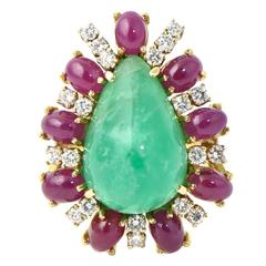 Emerald Ruby Diamond Gold Statement Ring