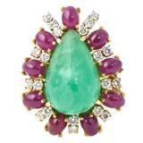 Emerald Ruby Diamond Gold Statement Ring