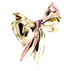 Tiffany & Co. Ruby Diamond Gold Retro Bow Brooch