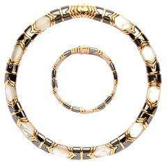 1980s Bulgari Ematite Mother of Pearl Gold Set
