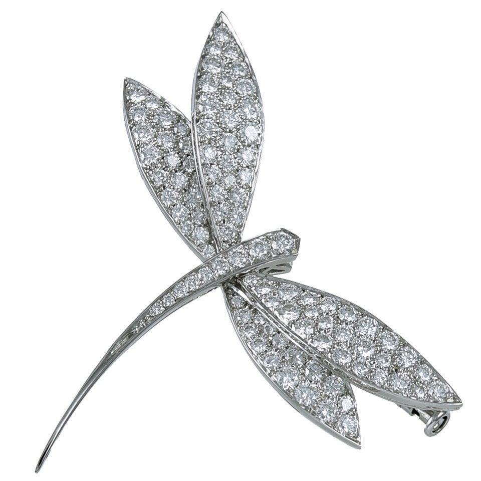 Van Cleef & Arpels Diamond Gold Dragonfly Clip