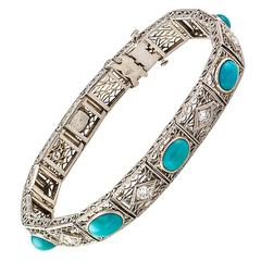 Kohn & Co. Turquoise Diamond Gold Filigree Bracelet