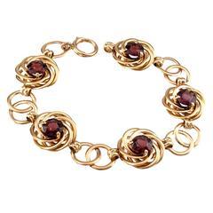 1940s Retro Garnet Gold Bracelet