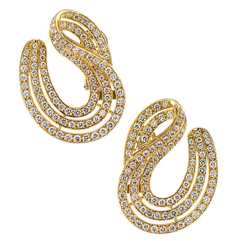 6.50 Carat Diamond Gold Swirl Earrings