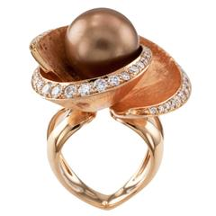 Chocolate Color Tahitian Cultured Pearl Diamond Rose Gold Ring