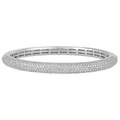 5.00 Carats Diamond Gold Bangle Bracelet