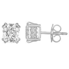 GIA Certified 4.06 Carats G VS Cushion Diamond Gold Stud Earrings