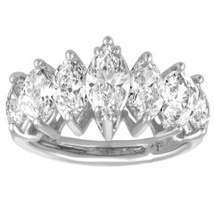 7 Stone 2.23 Carats Marquise Diamond Platinum Ring