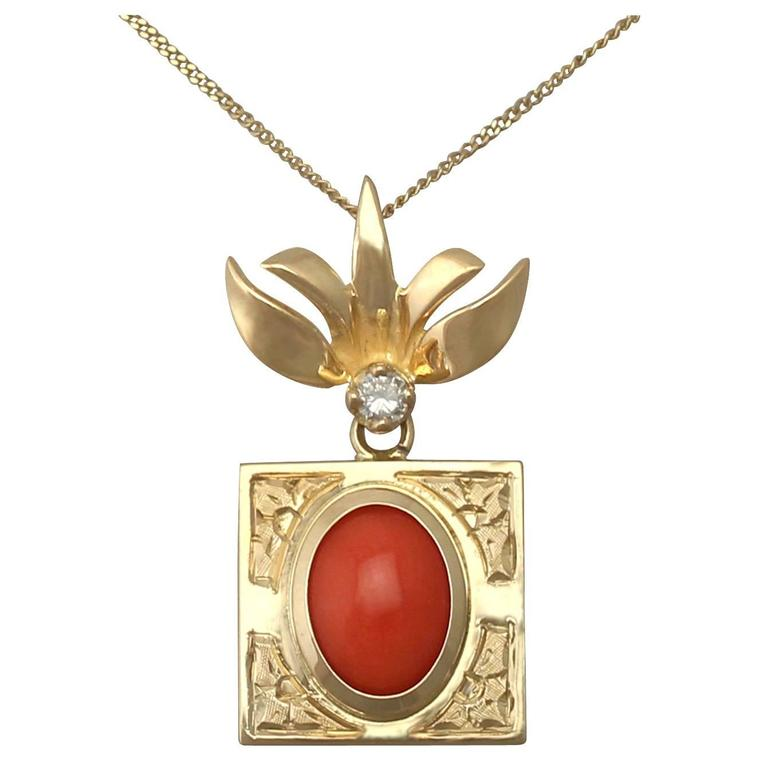 1970s Coral and Diamond, 18k Yellow Gold Pendant