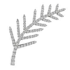 Tiffany & Co. Diamond Platinum Feather Brooch