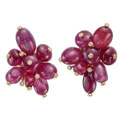 Burmese Ruby Bead Diamond Gold Cluster Earrings