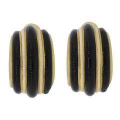 David Webb Black Onyx Gold Earrings