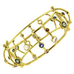 Temple St. Clair Multi Color Gemstone Diamond Gold Cage Bracelet