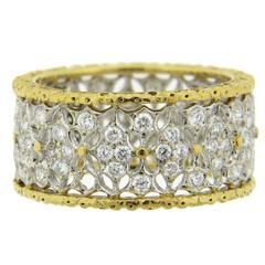 Buccellati Diamond Gold Openwork Wide Wedding Band Ring