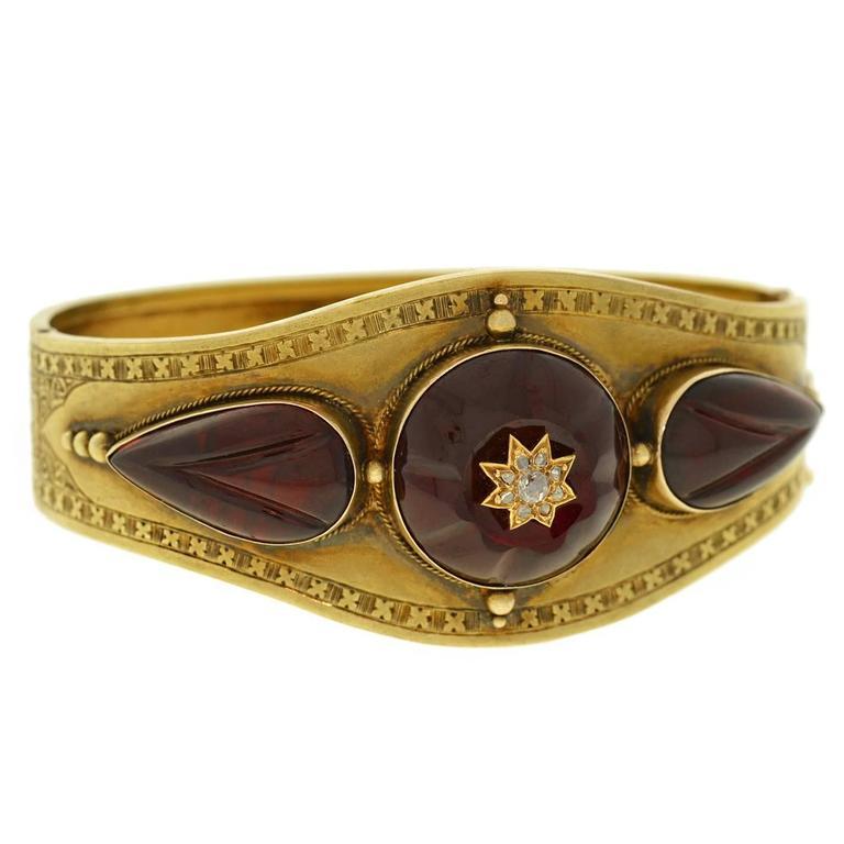 Victorian Carved Garnet Diamond Gold Bracelet
