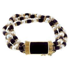 Cobalt Blue Enamel 3 Row Cultured Pearl Gold Bracelet