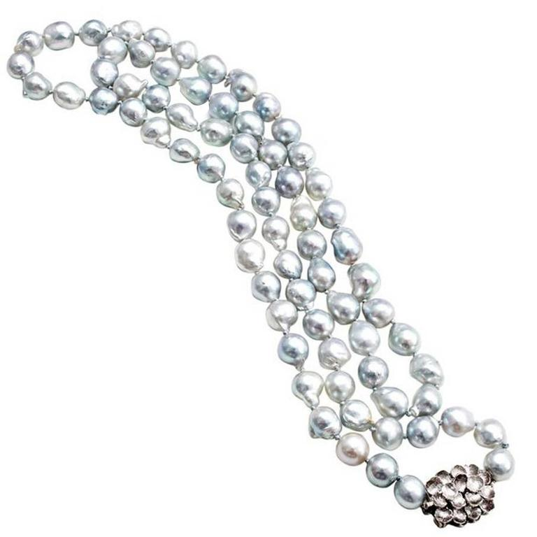 Silver Blue Cultured Pearl Baroque Gold Necklace  For Sale