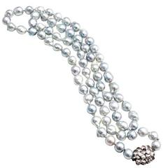 Silver Blue Cultured Pearl Baroque Gold Necklace