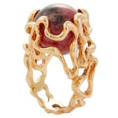 1970s Gilbert Albert Gold Ring with Seven Interchangeable Gemstones