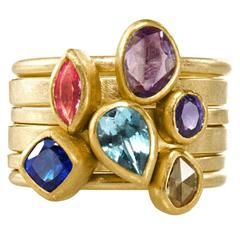 Petra Class Pink Purple Blue Sapphire Aquamarine Yellow Diamond Stacking Rings