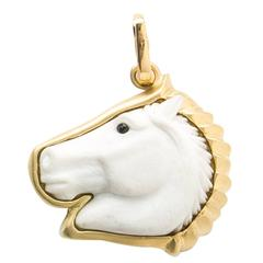 Howlite Horse Head Pendant with Detachable Gold Enhancer