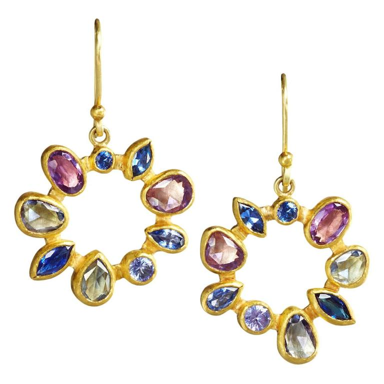 Petra Class Multicolored Montana Sapphire Gold Radial Drop Earrings For Sale