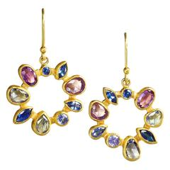 Petra Class Multicolored Montana Sapphire Gold Radial Drop Earrings