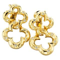 Jean Vitau Diamond Gold Double Clover Earrings