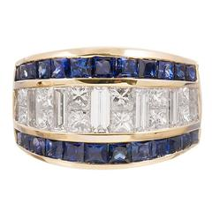 Channel Set Sapphire Diamond Band Ring