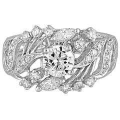 Diamond Gold Ring with 0.60 Carat Brilliant Center Diamond