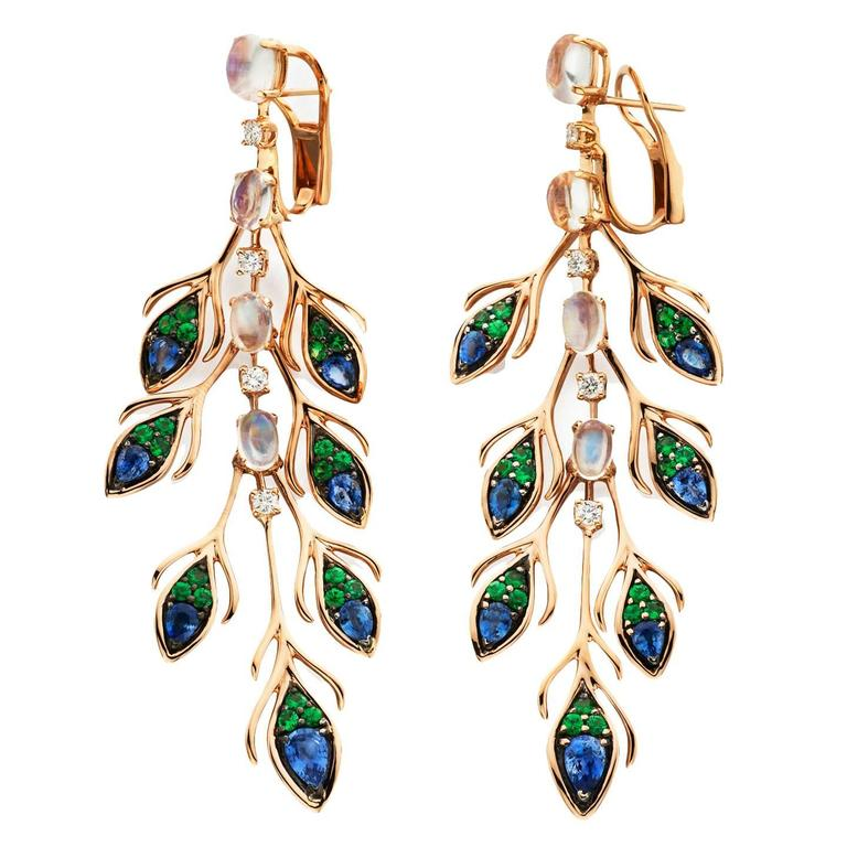 Garnet Sapphire Moonstone Diamond Gold Peacock Dangle Earring 1