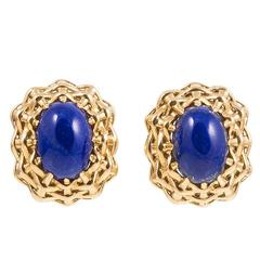 Seaman Schepps Lapis Lazuli Gold Lightship Collection Earrings