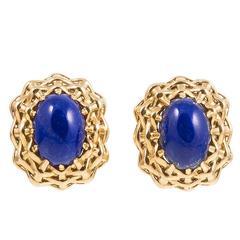 Seaman Schepps Lapis Lazuli Gold Lightship Collection Earrings