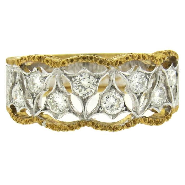 Mario Buccellati Diamond Gold Half Band Ring 1