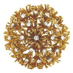 1960s David Webb Diamond Gold Platinum Dandelion Bouquet Brooch