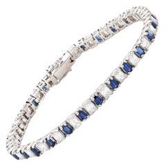 Sapphire Diamond Gold Line Bracelet