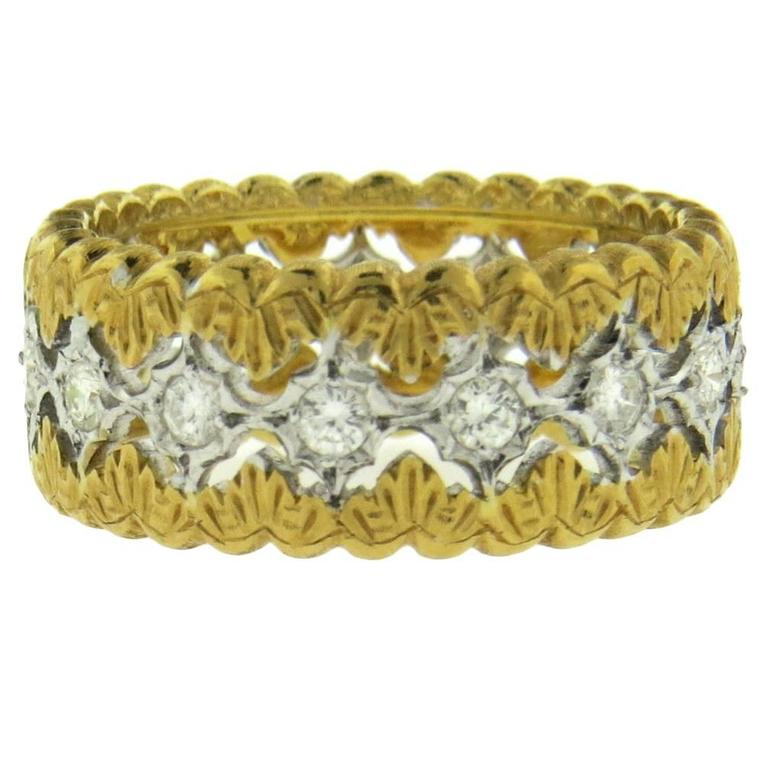 Mario Buccellati Diamond Gold Wedding Band Ring