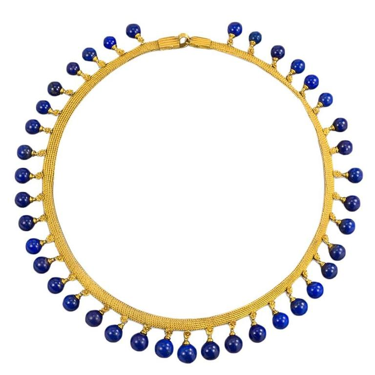 Antique Gold Lapis Bead Fringe Necklace