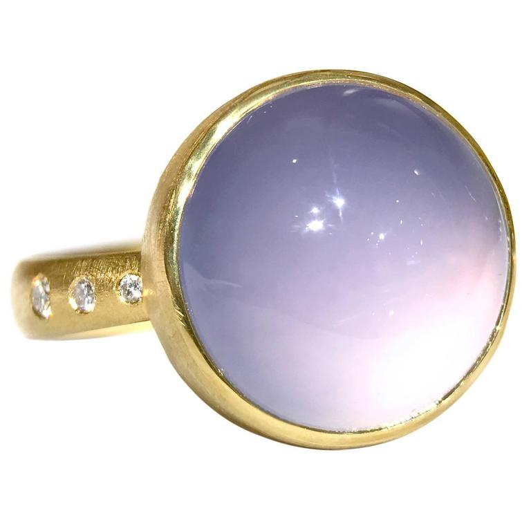 Robin Waynee Glowing Blue Violet Chalcedony White Diamond Gold Handmade Ring For Sale