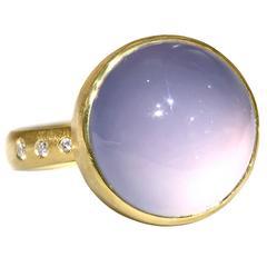 Robin Waynee Glowing Blue Violet Chalcedony Diamond Gold Handmade Bubble Ring