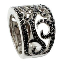 Black Sapphire Gold Wide Fashion Band Ring