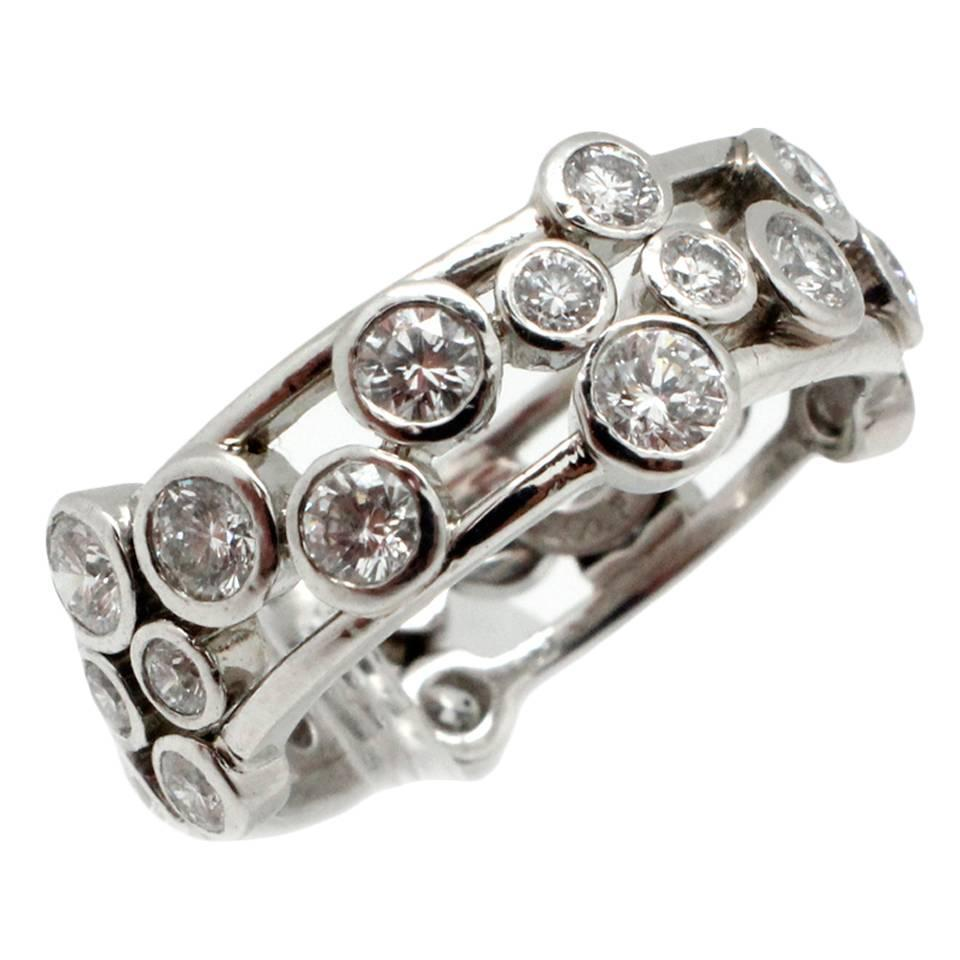 Tiffany And Co Diamond Platinum Bubble Band Ring For Sale
