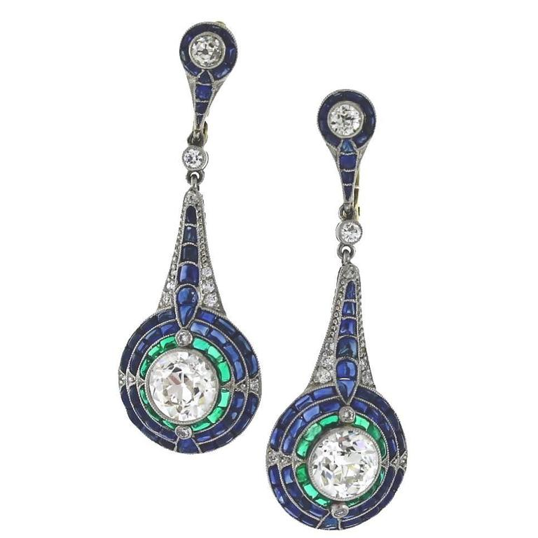 Sapphire Emerald Diamond Platinum Earrings